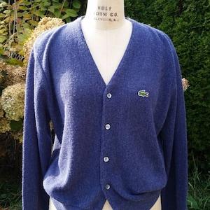 Izod, Lacoste purple cardigan. Preppy, size mens medium