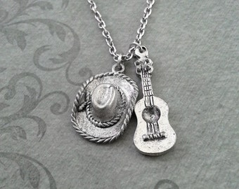 Cowboy Hat Necklace, SMALL Cowboy Necklace, Silver Acoustic Guitar Necklace, Southern Necklace, Texas Gift Cowboy Jewelry Country Music Gift