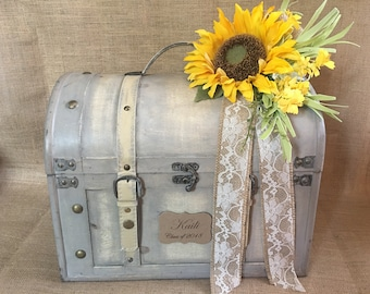 Very large Shabby Chic Cream Graduation Trunk Large Wedding Card Holder, Money Holder, Wedding Suitcase, Baby Shower Card Box, Wedding Chest