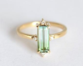 Unique Tourmaline Ring, Watermelon Tourmaline Ring, Baguette Engagement Ring, Bicolor Tourmaline Ring, Ooak Engagement Ring, Green Blue Ring