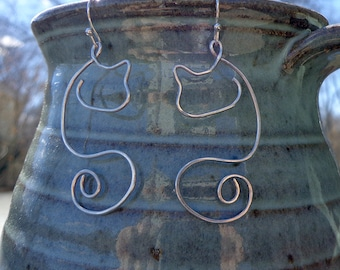 Sterling Silver Cat Earrings - Abstract Hand-Formed Silver Earrings on Sterling Ear wires