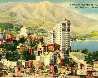 Russian Hill & Mt. Tamalpais San Francisco California Vintage Postcard (unused)