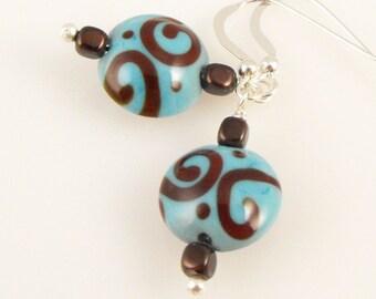 SALE! Aqua and Chocolate Swirl Lampwork Earrings