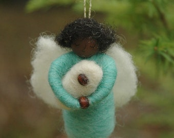 Mini Angel with Baby - Needle Felted Christmas Ornament in Blue