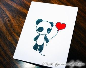 Love Balloon Panda Card - birthday anniversary congratulations anything - ReLove Plan.et Art Print