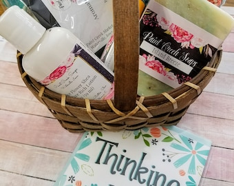 Thinking of You Gift Basket | Bath and Body Gift Basket | Spa Gift Basket | Thank You Gift | Gift Basket for Friend | Paint Creek Soaps