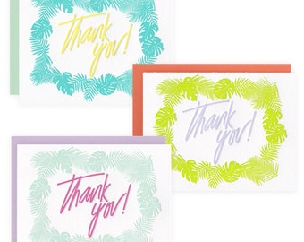 Thank You Palm - Box Set of 6 - Letterpress Greeting Cards
