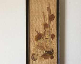 1970s dried flower picture, boho floral art, pretty pressed flower art, bohemian picture