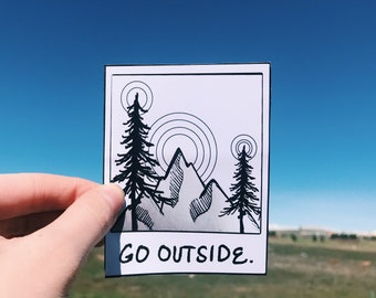 Go Outside Polaroid Sticker