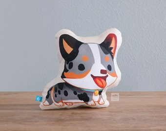 Cardigan Corgi Pillow (Blue Merle with Tan)