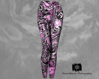 Pink Leggings Funky Artsy Graffiti Tights, Pink Womens Yoga Pants Workout Activewear Designer Premium Leggings High Waisted Compression Fit