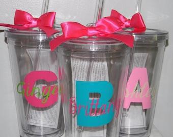 Monogram Tumbler Wedding Gift Bridesmaid Cup 16oz BPA free- Custom You Choose Colors