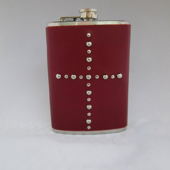 Studded Red Leather Flask