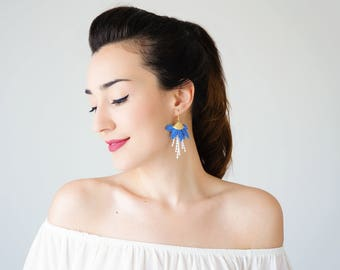 Statement Jewelry Royal Blue Earrings Tassel Earrings Girlfriend Gift For Mom Hoop Earrings Lace Earrings Statement Earrings/ ORECA