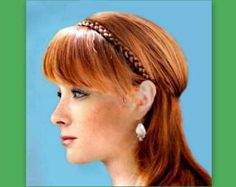 bridesmaid hair braided womans headband gift idea thin boho braid plait hippie head band bridal hairpiece hair accessory wedding hairband