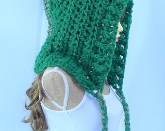 Crochet Hood Green Crochet Hat Tassel Hat Adult Hood Green Winter Hood Green Ear Flap Flat Big Hair Pixie Hood Dread Hood Elf Hood