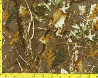 Woodland Camo Leaves and Trees on Brown Quilting Fabric   164