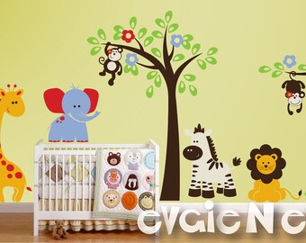 African Safari Wall Decals  - Lion, Monkeys, Giraffe, Elephant and Zebra Wall Stickers - PLSF011