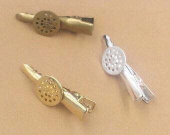 20-Messing-Alligator-Haar-Clips W / 12mm annähen / Kleber auf Runde Pad Antik Bronze / Silber / vergoldet