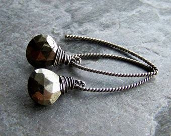 Pyrite Earrings, Wire Wrapped, Organic Jewelry, Rustic Jewelry, Minimalist, Sterling Silver, Oxidized, Gemstone Earrings