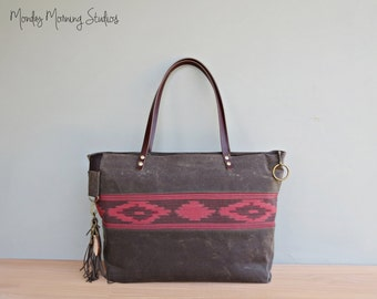 Personalized Red Aztec Tote in 2 Sizes, Waxed Canvas Zipper Tote Bag with Boho Tribal Southwest Accent, Carryall Bag with Leather Handles