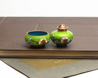 Vintage Cloisonne and Brass Asian Style Salt & Pepper Lime green with floral print 1950's