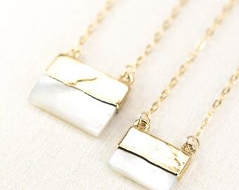 Kekoa necklace - gold pendant necklace, gold shell necklace, gold dip strand necklace, gold pendant necklace, hawaii wedding, boho jewelry