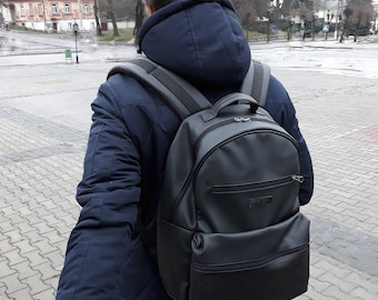 Leather rucksack,Men backpack,Laptop backpack men,Waterproof backpack,Waxed leather backpack,Black leather backpack,Leather backpack men