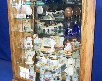 Solid Oak Wood Glass Collectors Wall or Tabletop Curio Cabinet Display