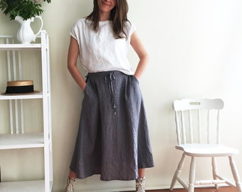 Long Linen Skirt, Boho Skirt, Grey Maxi Skirt, Long Skirt, Maxi Skirt Boho, Skirt with Pockets, Womens Skirts, Linen skirt, Custom Skirt