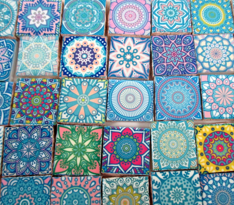 Ceramic Mosaic Tiles - Pastel Pink Blue Medallions Moroccan Tile ...