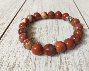 Red Jasper Beaded Bracelet