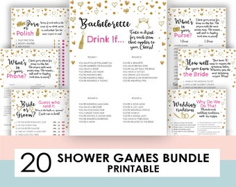 Printable Bachelorette Games,Bachelorette Party Games, Drink If Game, Hen's Night, Hen Party, Gold, Pink, Black, Drinking, Instant Download