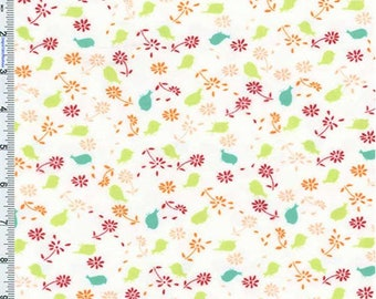 White/Red Valori Wells Bridgette Lane Posies Print Flannel, Fabric By The Yard