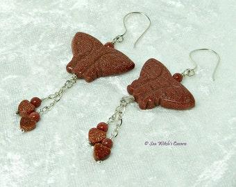 Butterfly Earrings | Goldstone Earrings |  Goldstone Jewellery | Brown Sparkly Earrings | Earring Gift Ideas | Everyday Earrings | A0385