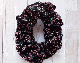 Black Hair Scrunchie Pastel Floral Hair Elastic Top Bun Ponytails Holder Hair Tie Retro 80s 90s Cottage Chic Shabby Sweet Girly