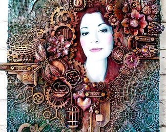 Custom Steampunk style portrait on canvas - Personalized gift - Photo portrait - Gift for mom who has everything - Recycled - Steampunk gift