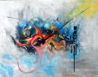 "Original Acrylic Painting, Oriental Beauty, 27.55""x19.68"", 70cmx50cm, blue, black, red, pink, yellow,"
