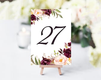 Burgundy Table Numbers, Printable Table Numbers, Floral Table Numbers, Wedding Table Numbers, PDF Instant Download, Table Number Set