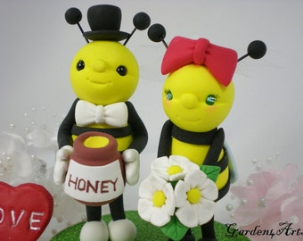 Honey Bee Love Wedding Cake Topper with a Honey Jar and clay grass Base