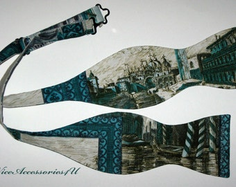Men's reversible self-tie bow tie in a Venice print cotton. Double Side freestyle Bowtie for men.