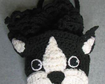 Crochet Pattern - Boston Terrier Grocery Bag Crochet Pattern - Tote Pattern - Grocery Bag Pattern -Boston Terrier Pattern - Digital Download