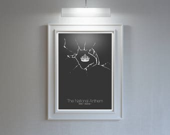 Black Mirror: Modern SciFi Art Print // The National Anthem // Minimalist broken glass and royal crown illustration