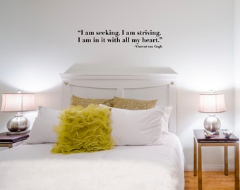 """Seeking... Wall Decal / Vincent van Gogh Quote Wall Sticker (36"""" x 7.8"""") / Artist Quote"""