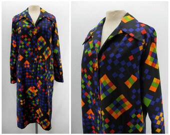 Vintage 70s Lanvin dress, 1970s Lanvin shirtdress, tetris pattern dress, graphic pattern dress