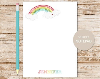 personalized notepad . rainbow notepad . rainbow & clouds note pad . girls stationery . personalized stationary