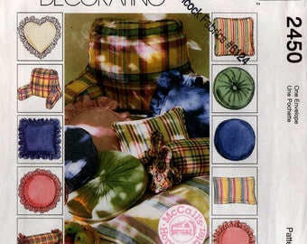 Uncut HOME DEC PILLOWS Pattern McCall's #2450 Ten Styles Headrest Neckroll Flange Square Heart Round Sunburst 1999 Sewing
