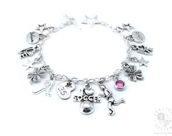 Soccer Charm Bracelet, Soccer Bracelet, Soccer Gifts, Soccer Jewelry, Soccer Team Gift, Soccer Gifts for Girls, Girls Soccer Gift