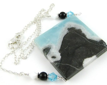 Amazing Amazonite Pyrite Diamond Gemstone and Swarovski pendant on a sterling silver chain