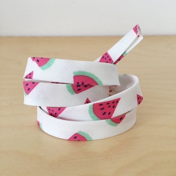 "Bias Tape in Dear Stella's Life's a Beach Watermelon print cotton 1/2"" double-fold binding- 3 yard roll"